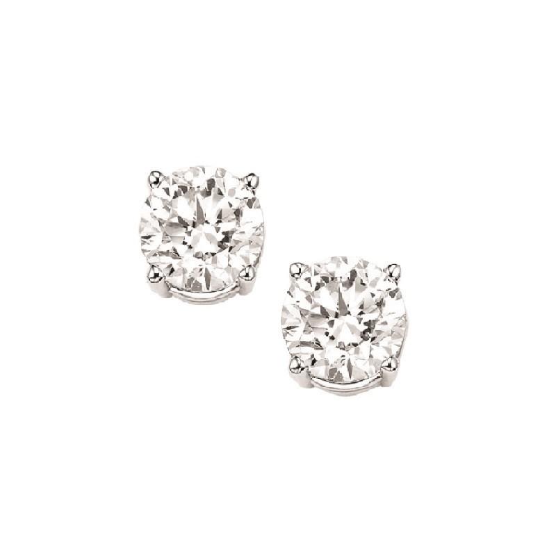 Diamond Stud Earrings In 14K White Gold (1/3 Ct. Tw.) I1/I2 - G/H
