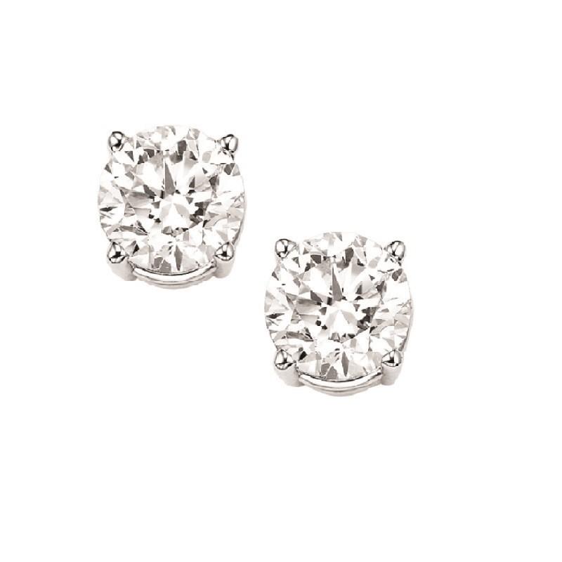Diamond Stud Earrings In 14K White Gold (1/2 Ct. Tw.) I1/I2 - G/H