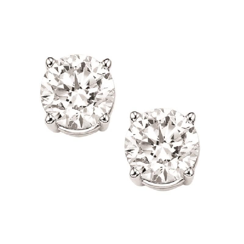 Diamond Stud Earrings In 14K White Gold (1 Ct. Tw.) I1/I2 - G/H