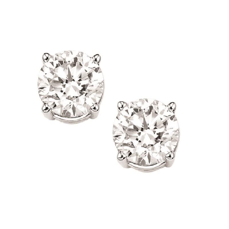 Diamond Stud Earrings In 14K White Gold (3/4 Ct. Tw.) I1/I2 - J/K