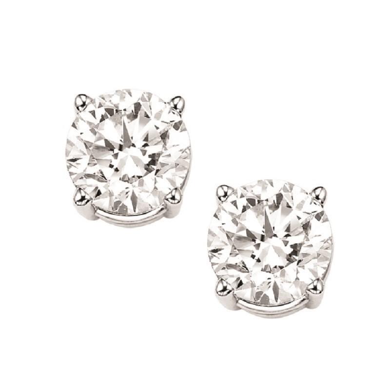 Diamond Stud Earrings In 14K White Gold (2 Ct. Tw.) I1/I2 - J/K