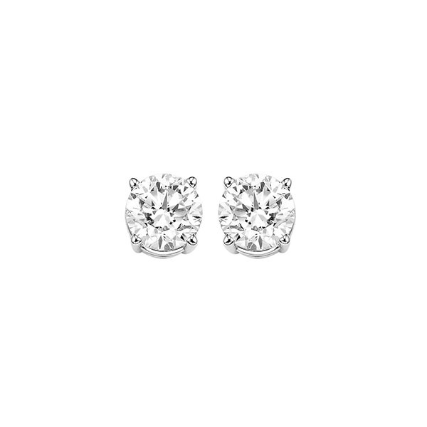 Diamond Round Classic Solitaire Stud Earrings In 14k White Gold (1/2 Ctw)