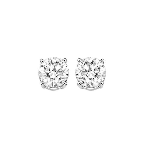 Diamond Round Classic Solitaire Stud Earrings In 14k White Gold (1 ? Ctw)