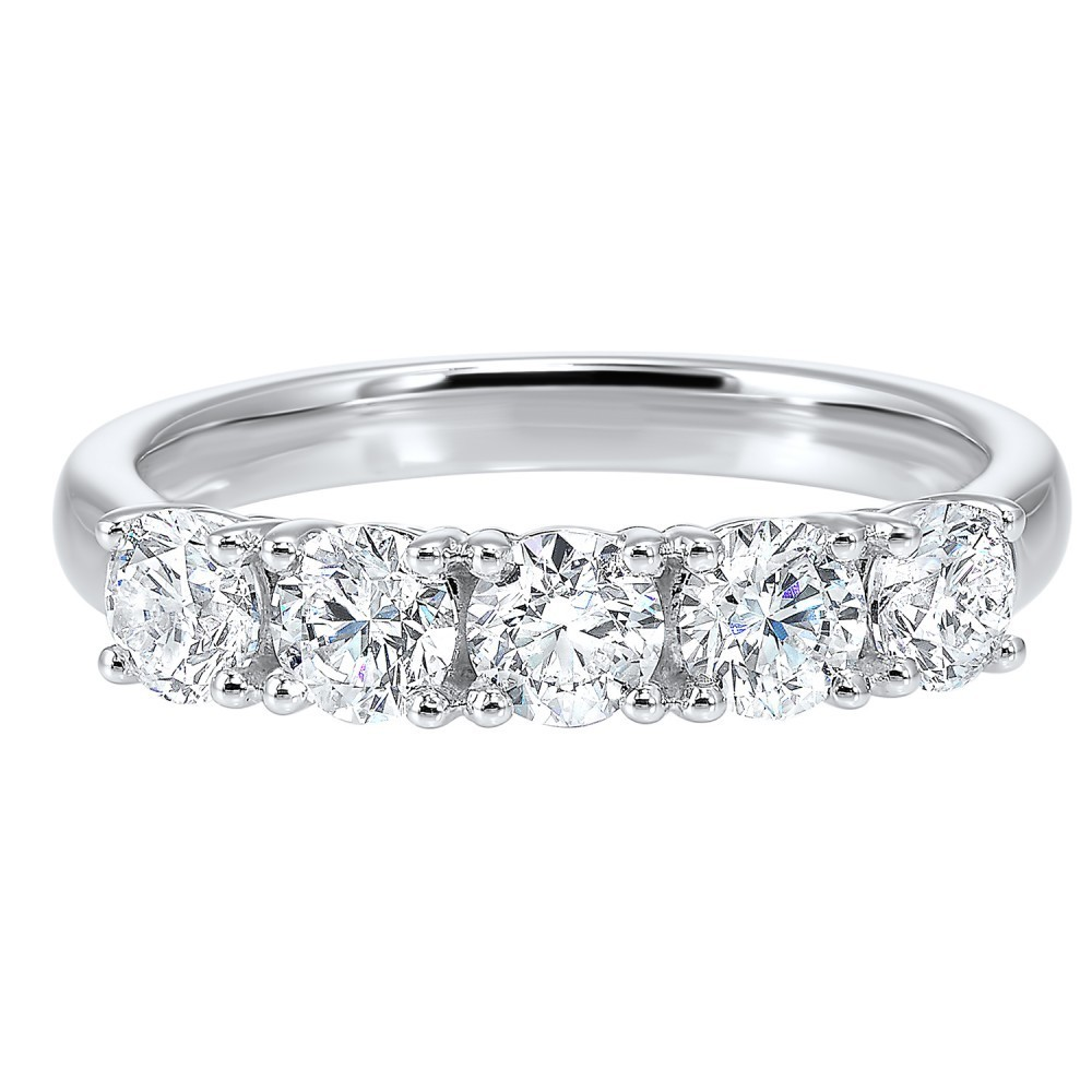 14K White Gold 5 Stone Prong Diamond Band 1 (1/4 Ct. Tw.)