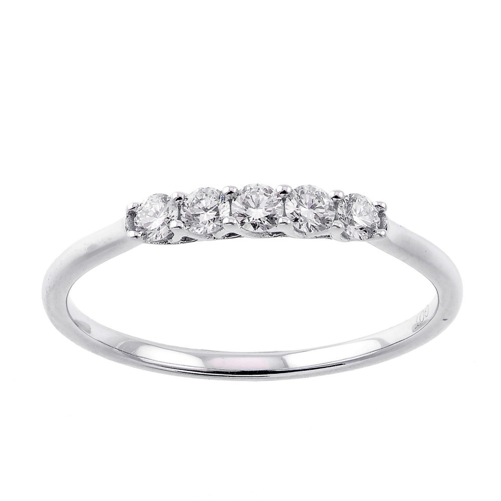 5 Stone Shared Prong Diamond Band 14K White Gold (1/4 Ct. Tw.)