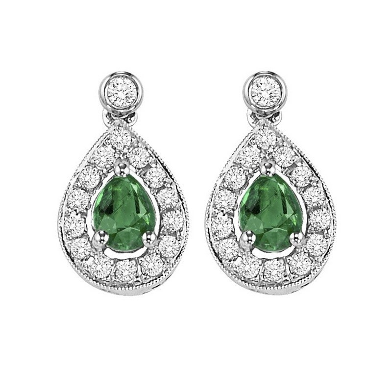 14K White Gold Color Ensembles Halo Prong Emerald Earrings 1/6CT