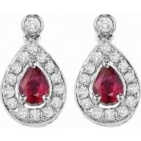 14K White Gold Color Ensembles Halo Prong Ruby Earrings 1/6CT