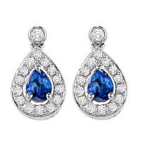 14K White Gold Color Ensembles Halo Prong Sapphire Earrings 1/6CT