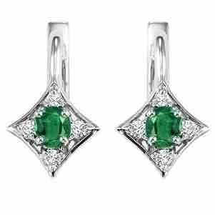 14K White Gold Color Ensembles Prong Emerald Earrings 1/1(2 Ct. Tw.)