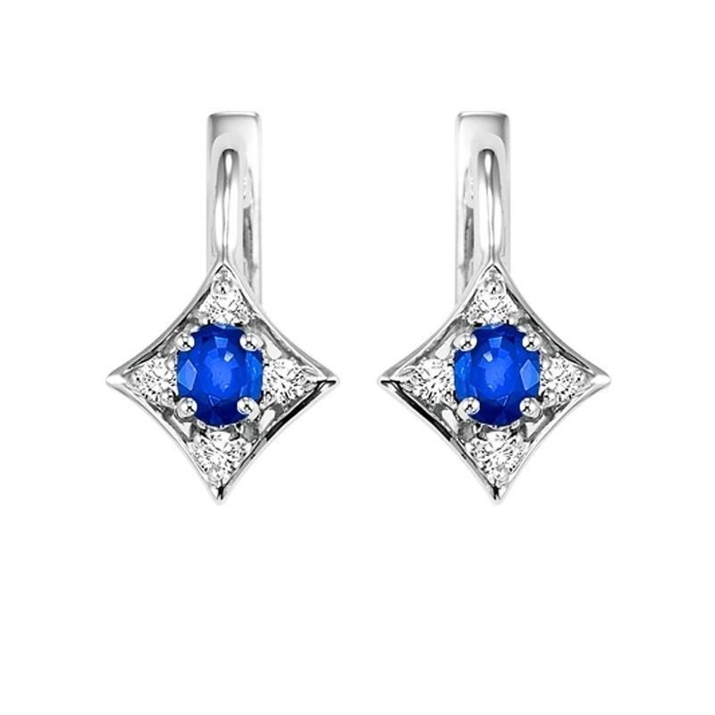 14K White Gold Color Ensembles Prong Sapphire Earrings 1/1(2 Ct. Tw.)