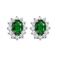 14K White Gold Color Ensembles Halo Prong Emerald Earrings 3/8CT