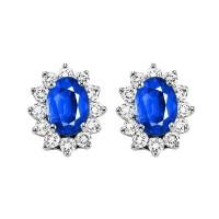 14K White Gold Color Ensembles Halo Prong Sapphire Earrings 3/8CT