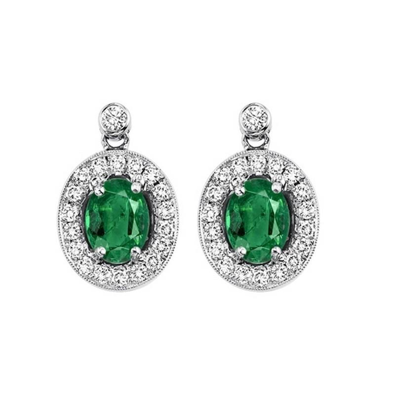 14K White Gold Color Ensembles Halo Prong Emerald Earrings 1/4CT