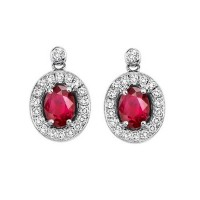 14K White Gold Color Ensembles Halo Prong Ruby Earrings 1/4CT