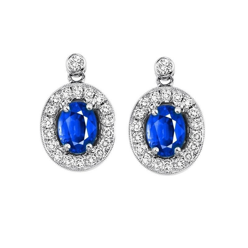 14K White Gold Color Ensembles Halo Prong Sapphire Earrings 1/4CT