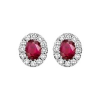 14K White Gold Color Ensembles Halo Prong Ruby Earrings 1/5CT