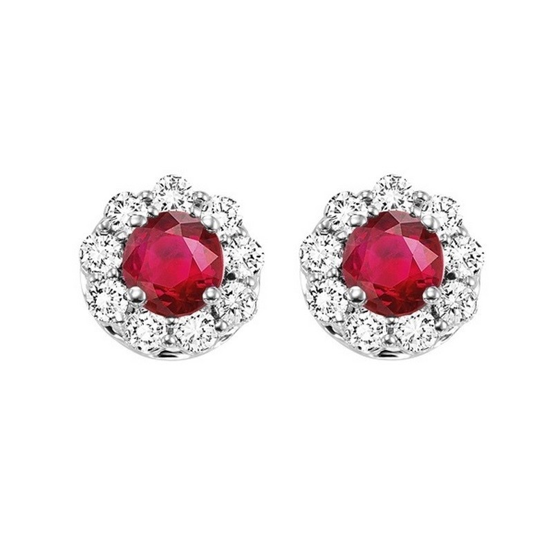 14K White Gold Color Ensembles Halo Prong Ruby Earrings 3/4 CT