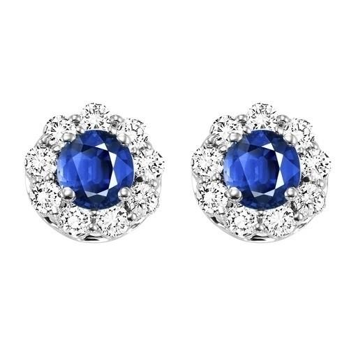 14K White Gold Color Ensembles Halo Prong Sapphire Earrings 3/4 CT