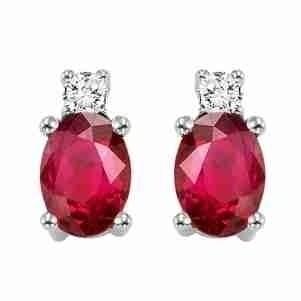 Oval Ruby & Diamond Earrings In 14K White Gold (1/14 Ct. Tw.)