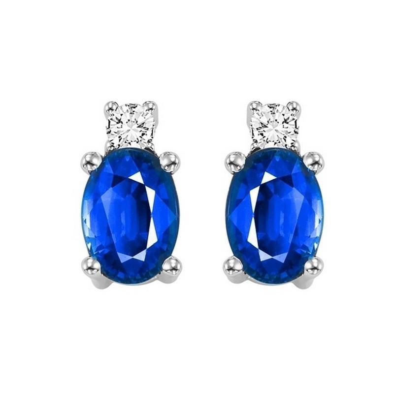 Oval Sapphire & Diamond Earrings In 14K White Gold (1/14 Ct. Tw.)