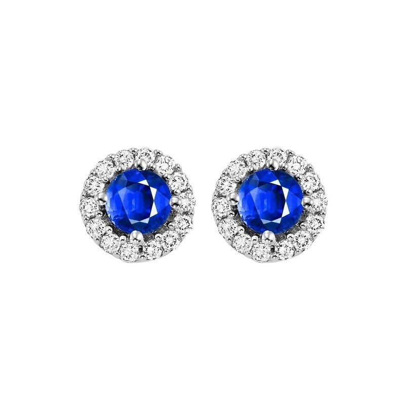 Round Sapphire & Diamond Halo Stud Earrings In 14K White Gold (1/7 Ct. Tw.)