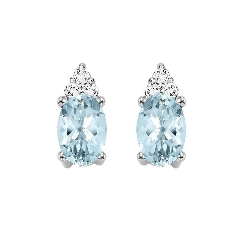 10K White Gold Color Ensembles Prong Aquamarine Earrings 1/25CT