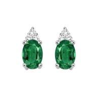 10K White Gold Color Ensembles Prong Emerald Earrings 1/25CT