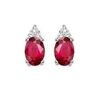 10K White Gold Color Ensembles Prong Ruby Earrings 1/25CT