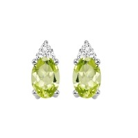 10K White Gold Color Ensembles Prong Peridot Earrings 1/25CT