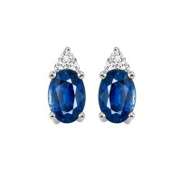 10K White Gold Color Ensembles Prong Sapphire Earrings 1/20CT