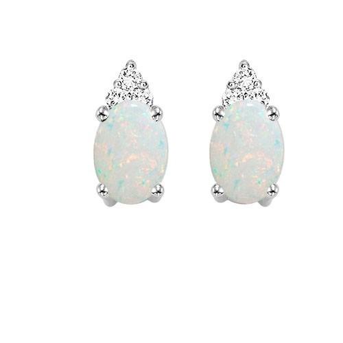 10K White Gold Color Ensembles Prong Opal Earrings 1/25CT