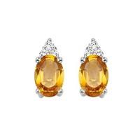 10K White Gold Color Ensembles Prong Citrine Earrings 1/25CT