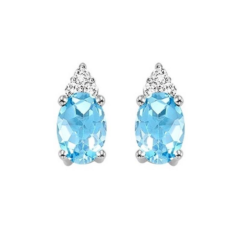 Blue Topaz & Diamond Earrings In 10K White Gold