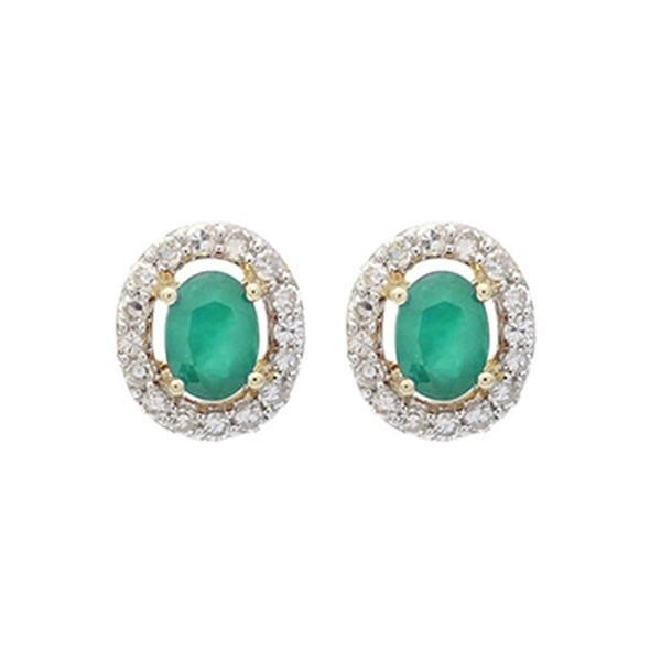 Diamond Halo And Emerald Prong Set Earrings In 10K White Gold (1/100 Ct. Tw.)