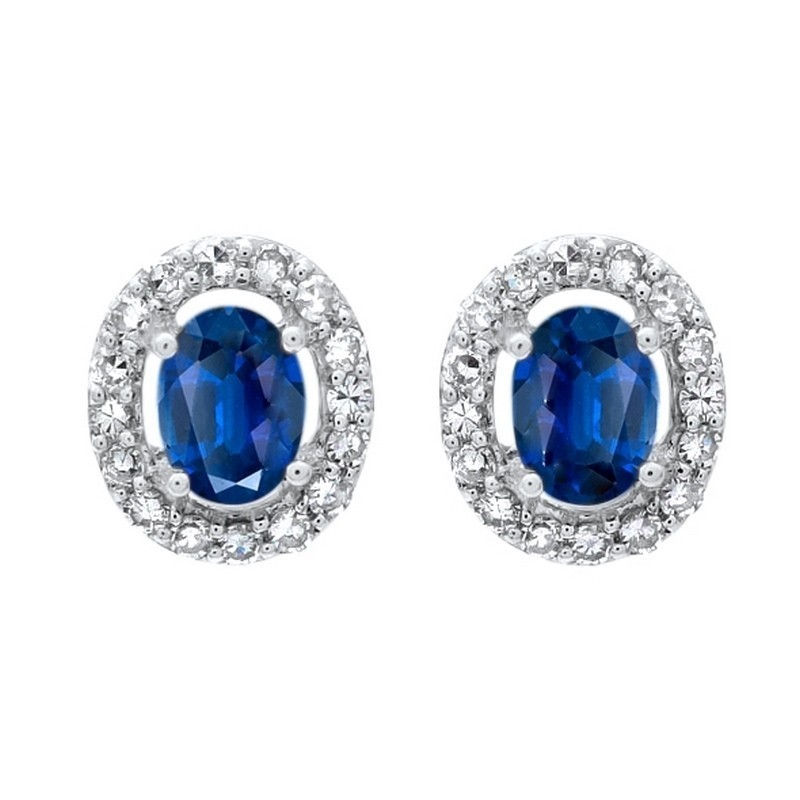 Diamond Halo And Sapphire Prong Set Earrings In 10K White Gold (1/100 Ct. Tw.)