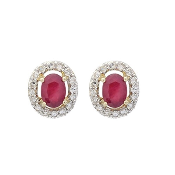 Diamond Halo And Ruby Prong Set Earrings In 10K White Gold (1/100 Ct. Tw.)