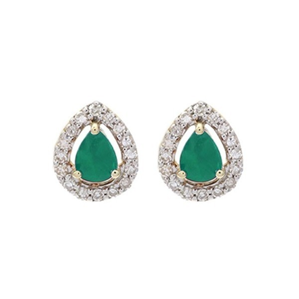 Diamond Halo And Emerald Prong Set Earrings In 10K White Gold (1/250 Ct. Tw.)