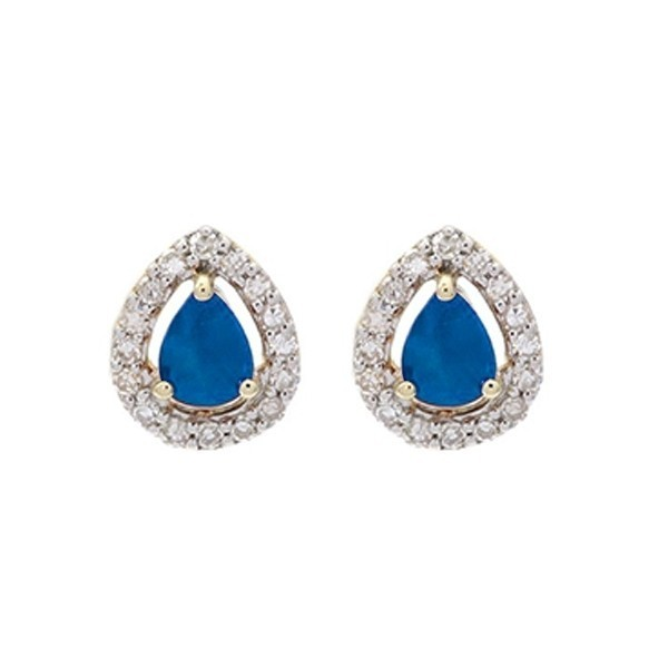 Diamond Halo And Sapphire Prong Set Earrings In 10K White Gold (1/250 Ct. Tw.)
