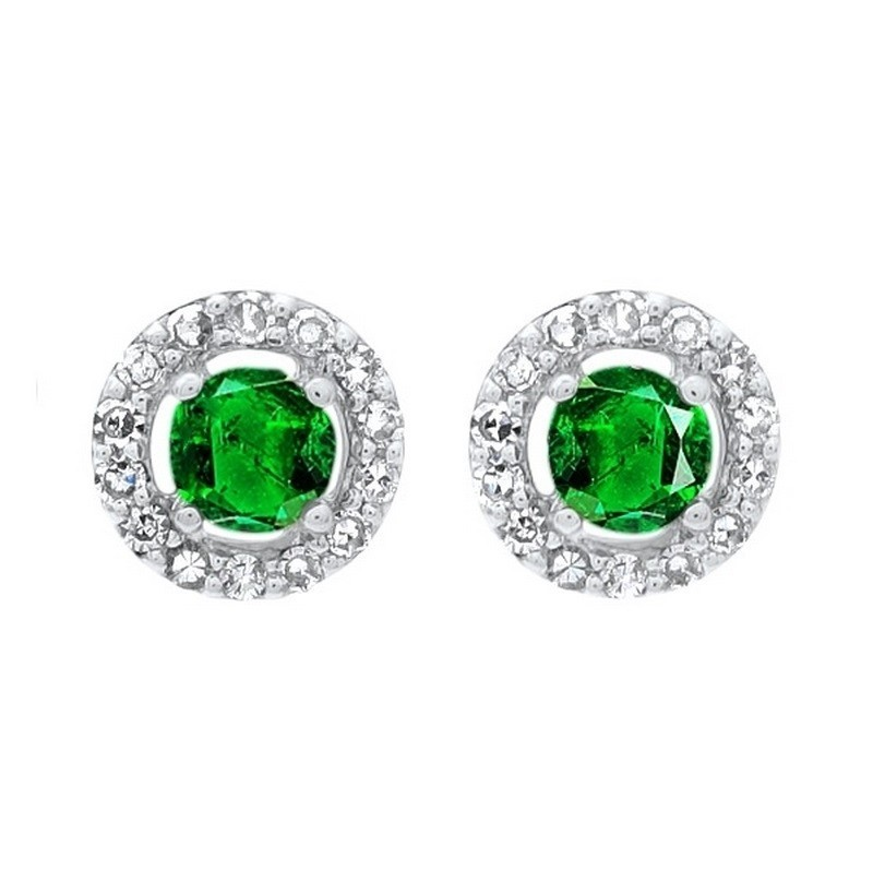 Diamond Halo And Emerald Prong Set Earrings In 10K White Gold (2/250 Ct. Tw.)
