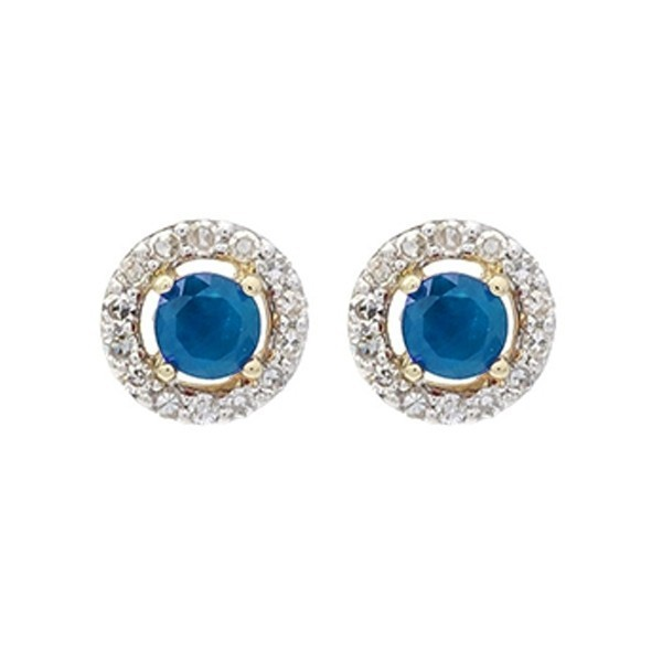 Diamond Halo And Sapphire Prong Set Earrings In 10K White Gold (2/250 Ct. Tw.)