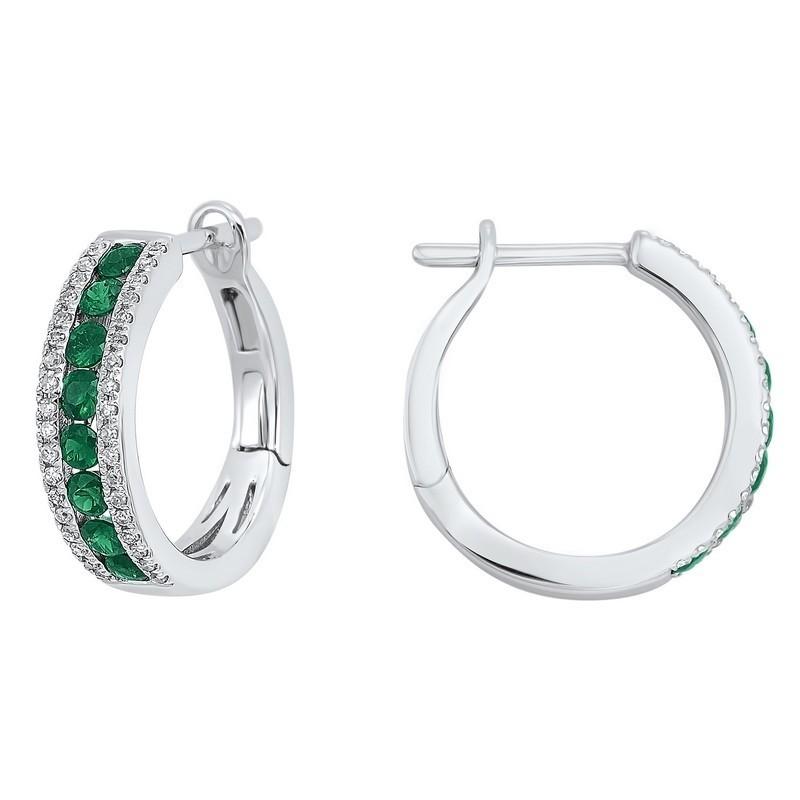 3 Row Channel Set Emerald Earrings In 14K White Gold (1/5 Ct. Tw.)