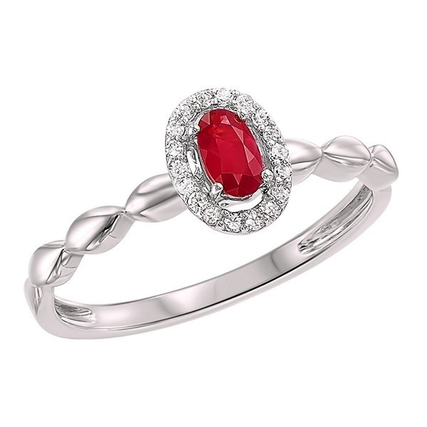 10K White Gold Prong Ruby Ring (1/14 Ct. Tw.)