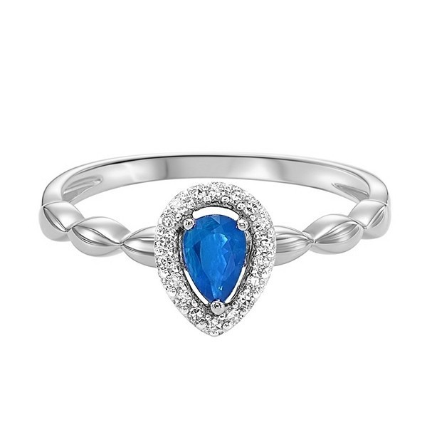 10K White Gold Prong Sapphire Ring (1/14 Ct. Tw.)
