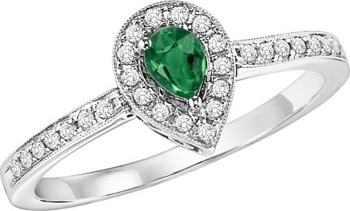 14K White Gold Halo Prong Emerald Ring (1/6 Ct. Tw.)