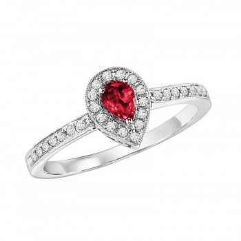 14K White Gold Halo Prong Ruby Ring (1/6 Ct. Tw.)