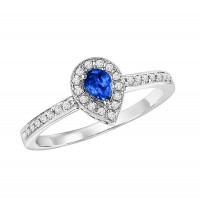 14K White Gold Halo Prong Sapphire Ring (1/6 Ct. Tw.)