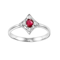 14K White Gold Prong Ruby Ring (1/20 Ct. Tw.)