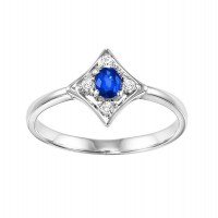 14K White Gold Prong Sapphire Ring (1/20 Ct. Tw.)