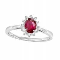 14K White Gold Halo Prong Ruby Ring (1/5 Ct. Tw.)