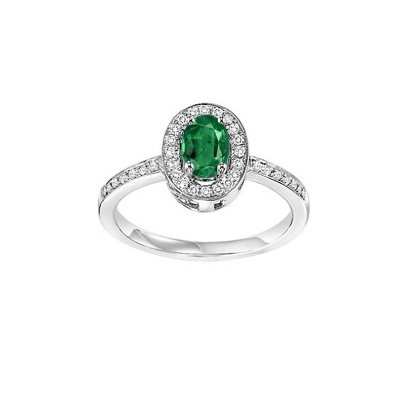 14K White Gold Halo Prong Emerald Ring (1/5 Ct. Tw.)